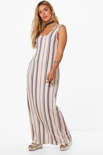 Plus Orla Striped Column Maxi Dress