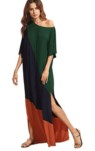 Verdusa Women's Summer Color Block Half Sleeve Split Casual Loose Shift Maxi Dress