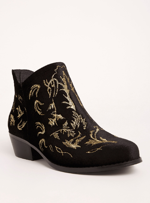 Lurex Embroidered Ankle Booties
