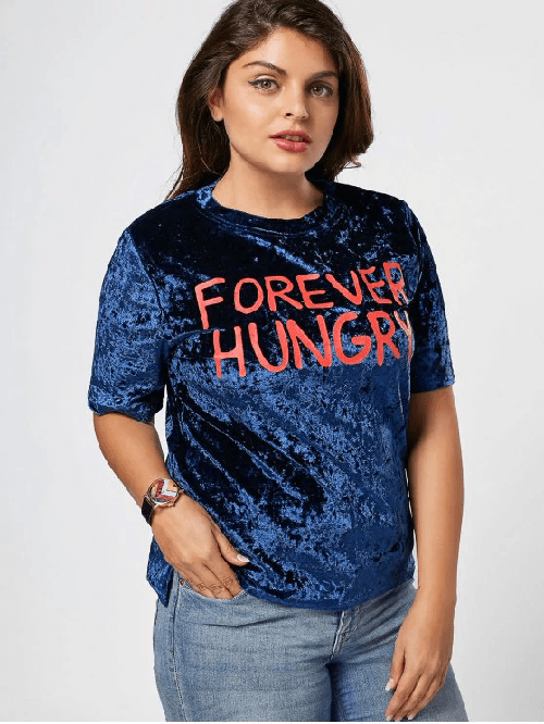 Letter Crushed Velvet Plus Size Top