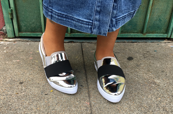 Silver pointed toe sneakers
