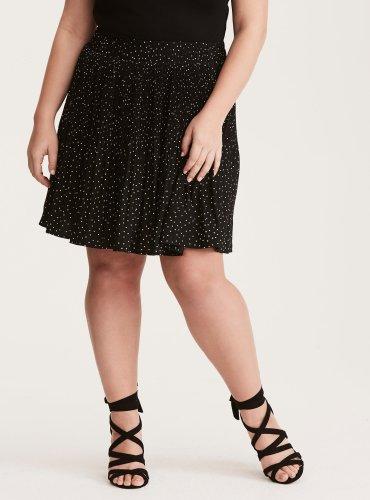 Polka Dot Print Crepe Pleated Skater Skirt