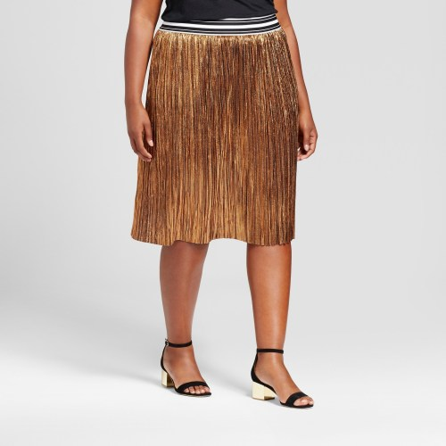 Women's Plus Size Pleated Metallic Skirt - Ava & Viv
