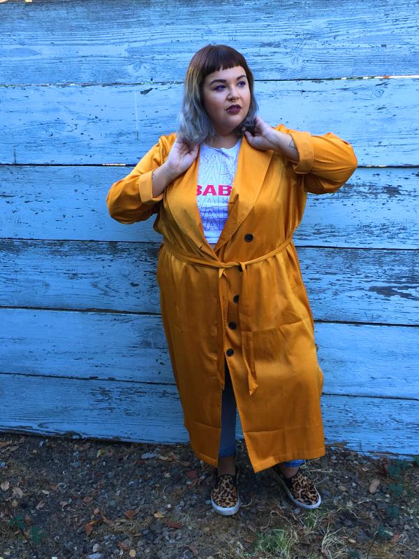 Plus size satin robe dress