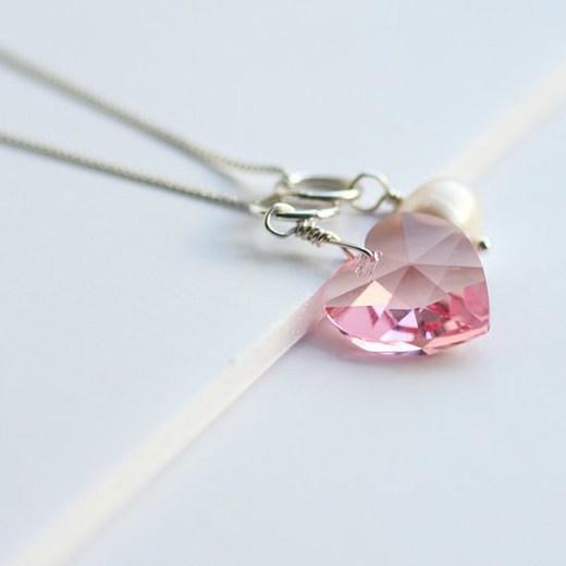 Valentine Heart Necklace in Light Rose
