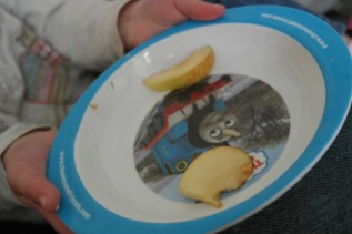 Snack on her Thomas plate!