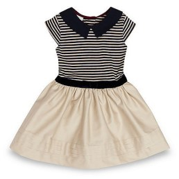 Designer girl's natural jersey woven dress