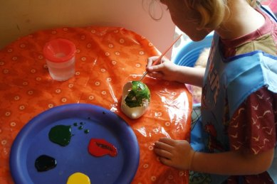 Georgie painting ceramic hedgehog