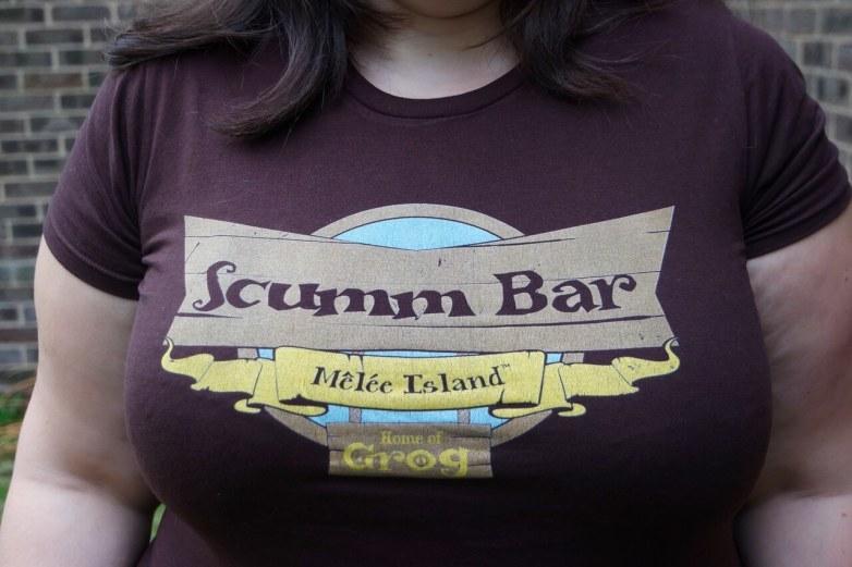 Mama Geek wearing GamerPrint Scumm Bar T-shirt