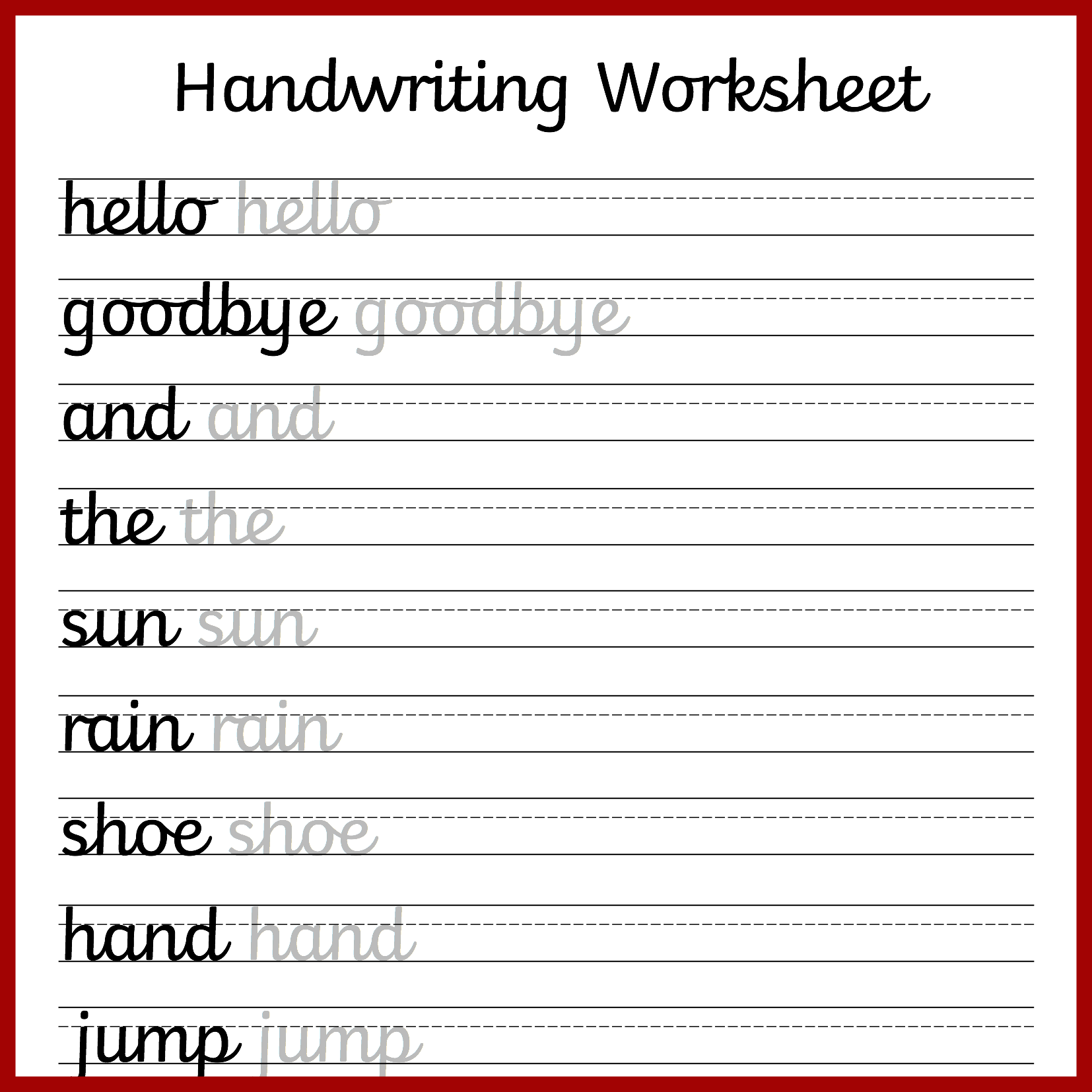Penmanship Worksheet Middle School