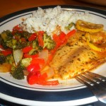 Baked tilapia and veggie foil packets