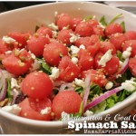 Watermelon & Goat Cheese Spinach Salad