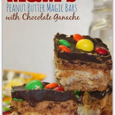 M&M's Peanut Butter Magic Bars with Chocolate Ganache