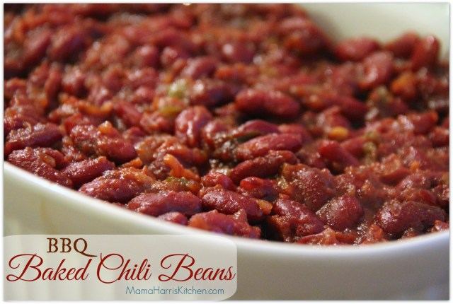 "BBQ Baked Chili Beans, perfect for the Big Day! Part of Mama Harris' Kitchen 3 ""Must-Have"" Foods for the Big Game!"