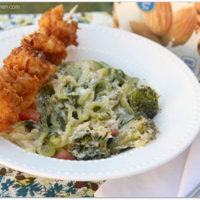 Cooking with Almond Milk: Coconut Shrimp over Zucchini Alfredo