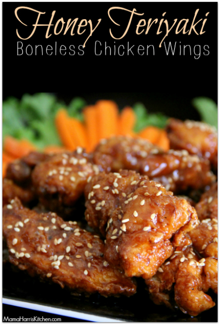 honey teriyaki boneless chicken wings #ChicksWingIt #WingItWednesday - Mama Harris' Kitchen