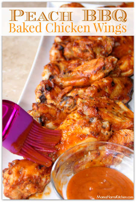 Peach Barbecue Chicken Wings #ChicksWingIt