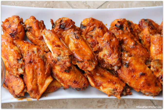 peach barbecue baked chicken wings - Mama Harris' Kitchen