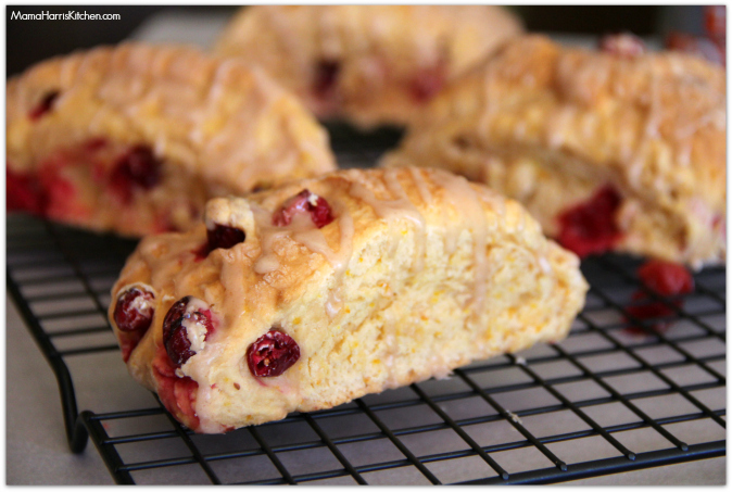 Orange-Cranberry Scones with Cinnamon-Citrus Glaze #drinkTEN - Mama Harris' Kitchen