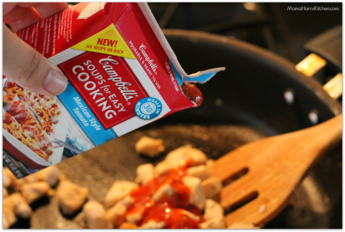 Add the Campbell's Soup for Easy Cooking Mexican Style Tomato Soup.
