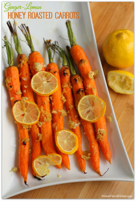 ginger lemon honey roasted carrots from Mama Harris' Kitchen