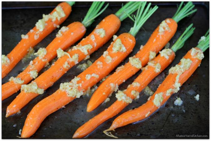 ginger lemon honey roasted carrots from Mama Harris' Kitchen