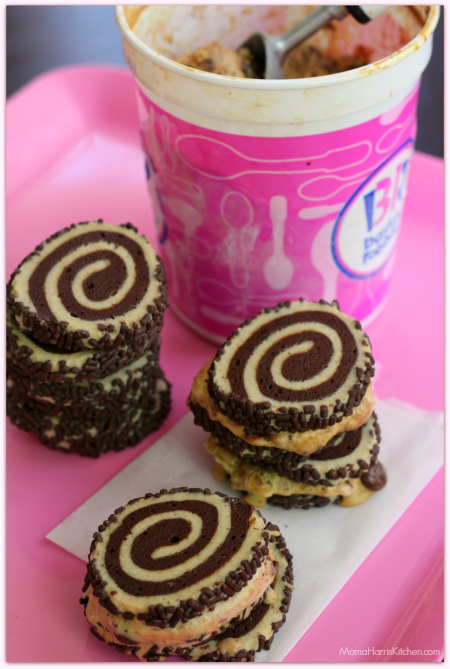 chocolate pinwheel cookie ice cream sandwiches with baskin robbins snacknado flavor ice cream from Mama Harris' Kitchen