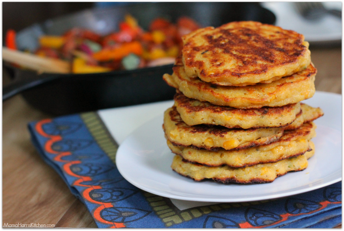 Peppers and Sausage with Corn Cakes #CookingWithGuyFieri (ad)