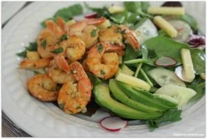 Garlic Butter Shrimp Over Cucumber Radish Salad