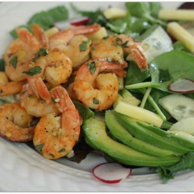 Garlic Butter Shrimp Over Cucumber Radish Salad