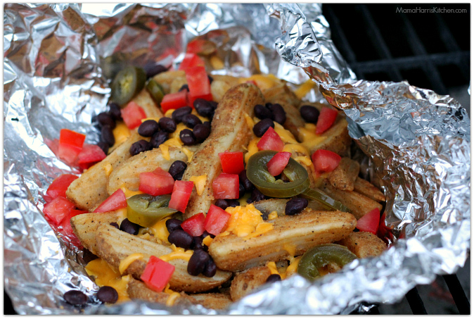 campfire tex-mex nacho fries with velveeta #liquidgold5 #ad | Mama Harris' Kitchen