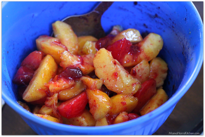 Nectarine & Plum Cobbler with cornmeal biscuits #PANFan #IC (ad)   Mama Harris' Kitchen
