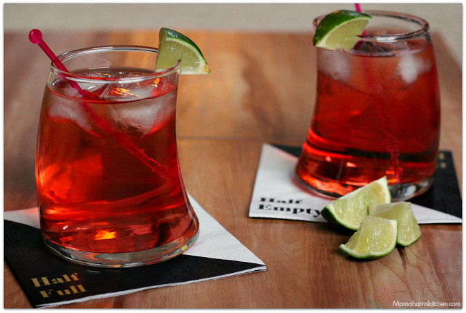 red dawn - a three ingredient cocktail with Southern Comfort, lemon lime soda and cranberry juice | Mama Harris' Kitchen