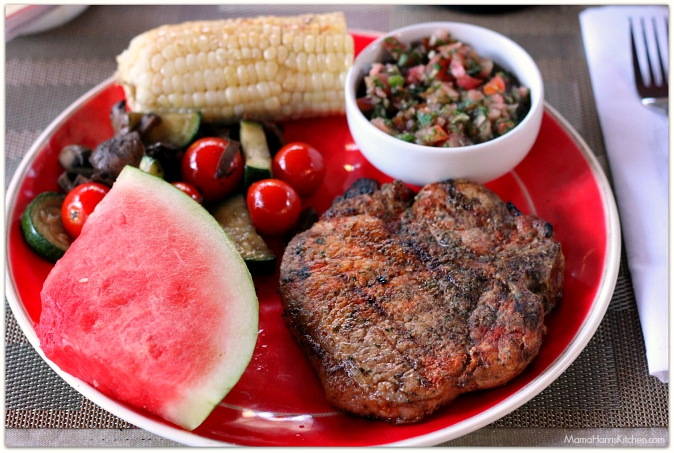 Chili Lime Grilled Pork with Watermelon Pico de Gallo (spon) #GrillPork | Mama Harris' Kitchen