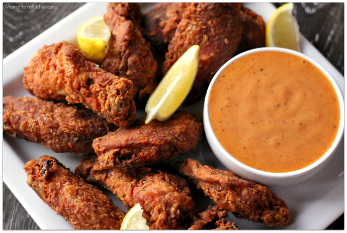 cajun buttermilk fried wings with spicy aioli #ChicksWingIt #WingItWednesday | Mama Harris' Kitchen