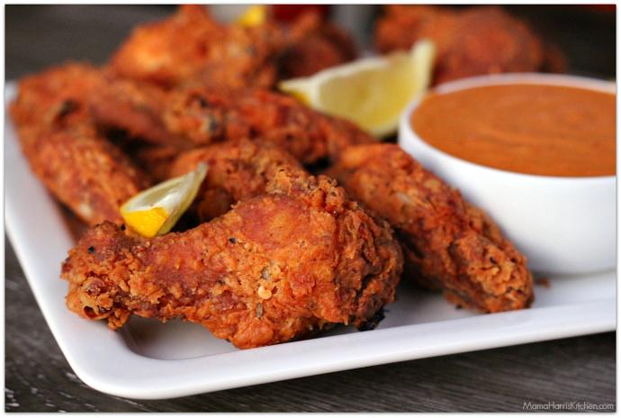 cajun buttermilk fried wings with spicy aioli #ChicksWingIt #WingItWednesday | Mama Harris' Kitchen
