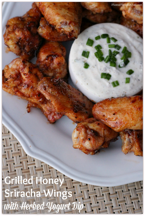 Grilled Honey Sriracha Wings with Herbed Yogurt Dip #ChicksWingIt #WingItWednesday | Mama Harris' Kitchen