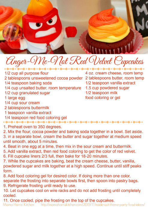 Inside Out Anger Me Not Red Velvet Cupcakes Printable Recipe Card #InsideOutEmotions #cbias AD | Mama Harris' Kitchen