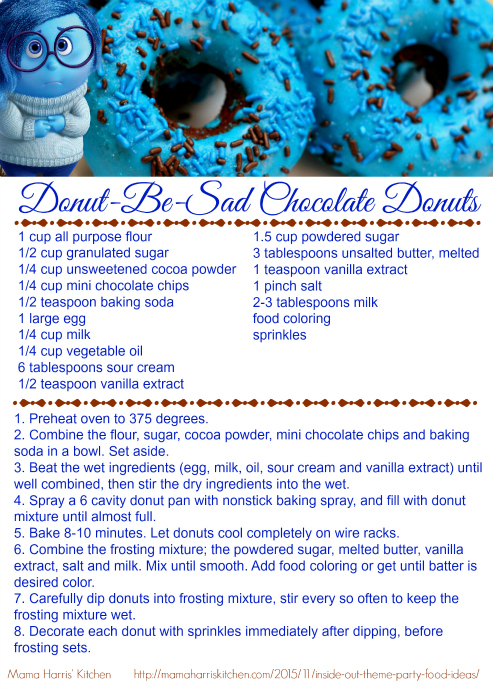 Inside Out Donut Be Sad Chocolate Donuts Printable Recipe Card #InsideOutEmotions #cbias AD | Mama Harris' Kitchen