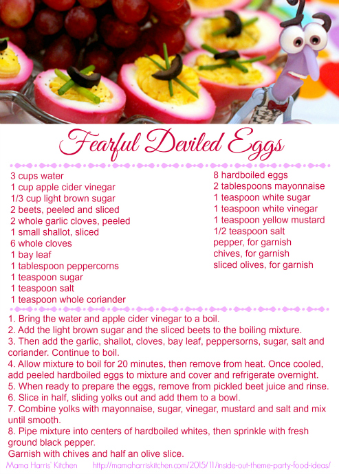 Inside Out Fearful Deviled Eggs Printable Recipe Card #InsideOutEmotions #cbias AD | Mama Harris' Kitchen