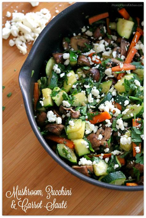 Thanksgiving for the Vegetarian - 12 Recipe Ideas - mushroom zucchini carrot saute   Mama Harris' Kitchen