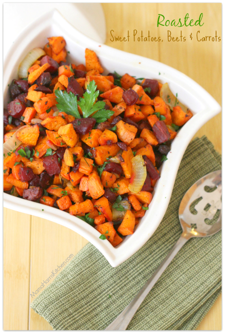Thanksgiving for the Vegetarian - 12 Recipe Ideas - Roasted Sweet Potatoes, Beets and Carrots | Mama Harris' Kitchen