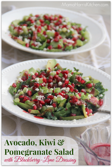 Thanksgiving for the Vegetarian - 12 Recipe Ideas - avocado, kiwi and pomegranate salad with blackberry lime dressing    Mama Harris' Kitchen