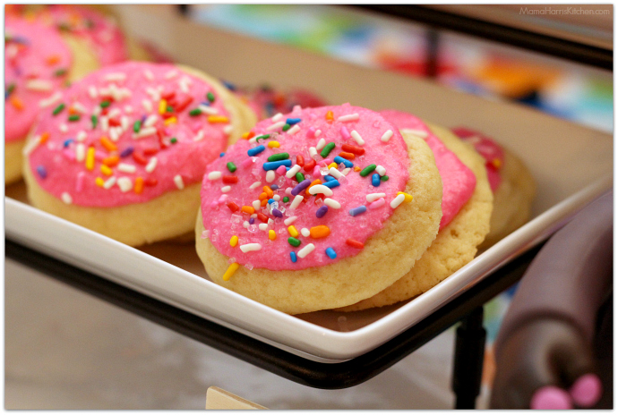 Inside Out Inspired Bing Bong  Cookies | Frosted Sugar Cookies with Sprinkles | Lofthouse Sugar Cookies - 15+ Cookie Recipes from Mama Harris' Kitchen | Mama Harris' Kitchen