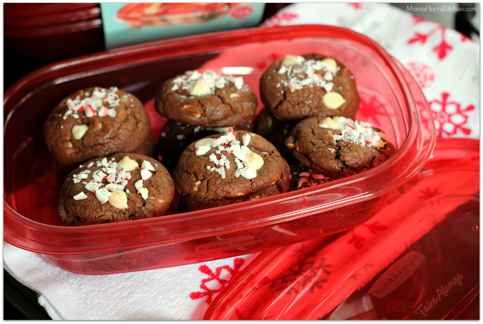 White Chip Chocolate Cookies with Peppermint #ShareTheHoliday AD | Mama Harris' Kitchen