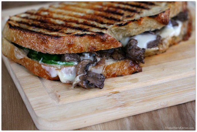 Three Cheese Steak and Mushroom Panini with San Luis Sourdough Bread AD | Mama Harris' Kitchen