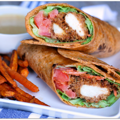 Honey Mustard Crispy Chicken Wrap with Sweet Potato Fries