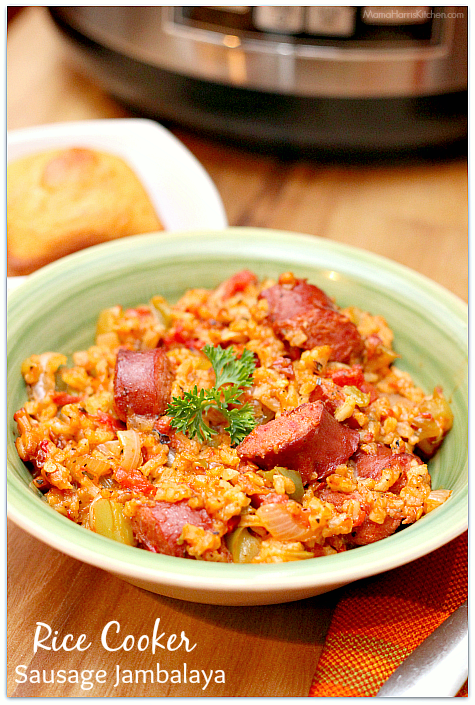 Rice Cooker Sausage Jambalaya was cooking using Hamilton Beach's new 4-20 cup rice and hot cereal cooker AD | Mama Harris' Kitchen