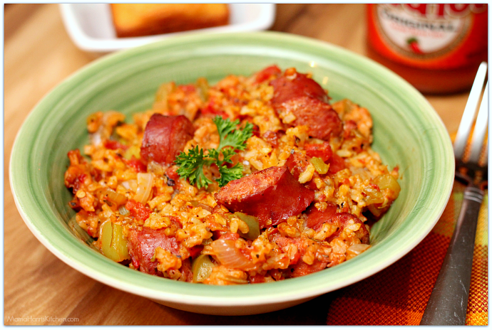 Rice Cooker Sausage Jambalaya was cooked using Hamilton Beach's new 4-20 cup rice and hot cereal cooker AD | Mama Harris' Kitchen