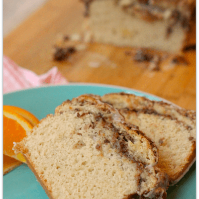 Cinnamon Swirl Quick Bread with French Vanilla Glaze